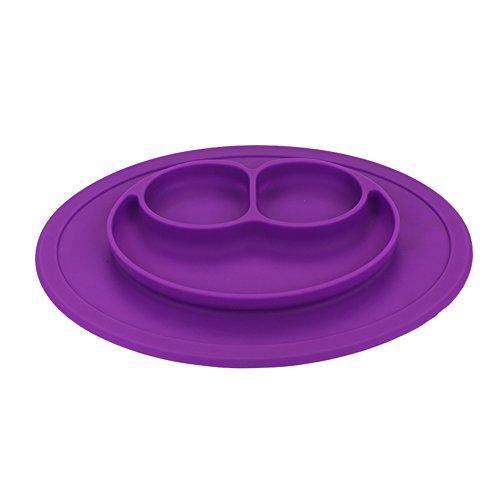 Coque en silicone Assiette Grade Silicone Ventouse antidérapante Portable divisé Section Smile pour nourrir bébé Plateau Assiette Bol violet