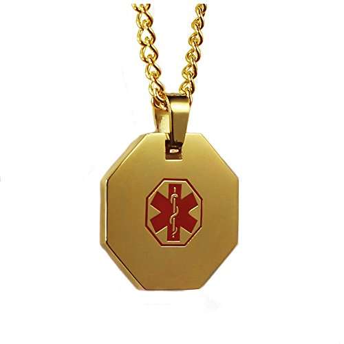 My Identity Doctor MyIDDr Custom Medical ID Necklace Gold Tone Free Engraving 316L Steel
