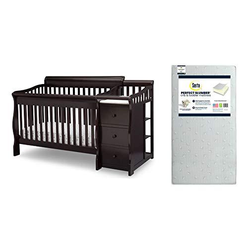 Delta Children Princeton Junction Convertible Crib N Changer, Dark Chocolate + Serta Perfect Slumber Dual Sided Recycled Fiber Core Crib and Toddler Mattress (Bundle)