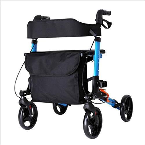 Rollator Andador de Aluminio, abatible y Regulable en Altura, con Asiento tapizado y Freno de Bloqueo, para Personas Mayores y Personas con Movilidad Reducida