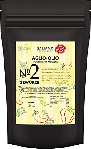 100g Aglio Olio e Peperoncino Gewürzmischung, grob scharf, Knoblauch, Spaghetti aglio e olio, Spaghettini mit Knoblauch, Öl und Peperoncino | Saliamo