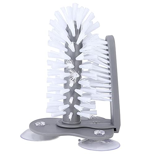 Cepillo de la taza gris, pp y nylon Hecho de nylon cepillo de plástico de plástico de plástico de la botella de limpieza para uso doméstico