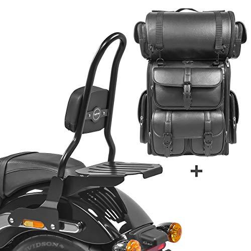 Respaldo CSL Fix + Bolsa Trasera LX para Harley Sport Glide 18-21