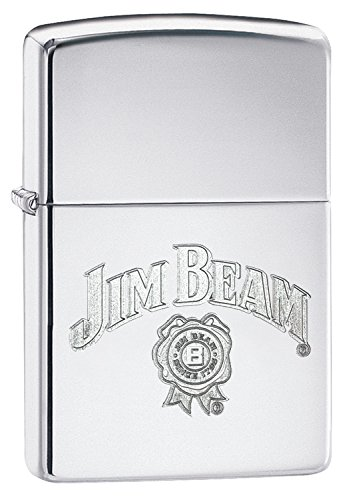 Zippo Jim Beam Benzinfeuerzeug, Messing, Edelstahloptik, 1 x 6 x 6 cm
