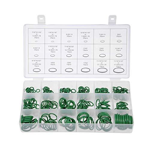 YeVhear - Juego de juntas tóricas, 270 piezas, conjunto de anillos de sellado de goma fluorada verde