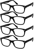 Reading Glasses Set of 4 Black Quality Readers Spring Hinge Glasses for Reading for Men and Women +2.25