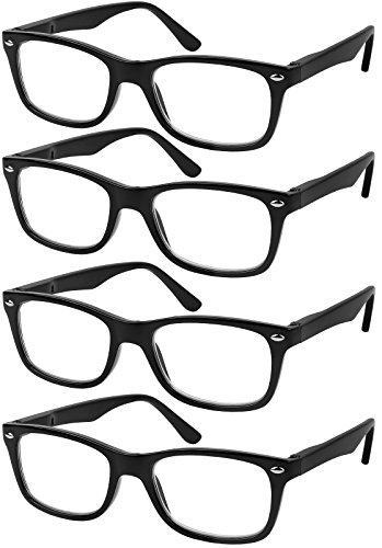 Reading Glasses Set of 4 Black Quality Readers Spring Hinge, Black, Size 51mm