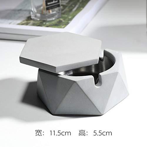 Keramik-Aschenbecher mit Deckel, Marmor Zigaretten Outdoor Aschenbecher Home Dekoration Einheitsgröße hellgrau