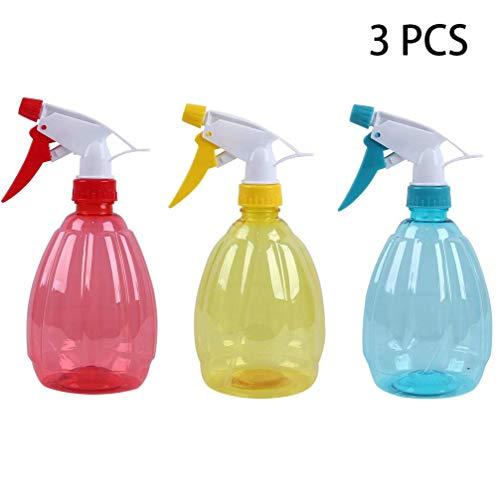 FADACAI 3 Stücke 500ml Leere Kunstoffe Sprühflaschen, handdruckverstellbare Plastiksprühflaschen für Haar & Reinigung & Gießen der Blumen, Nachfüllbare Sprühflasche für Reinigungsmittel, Flüssigkeit