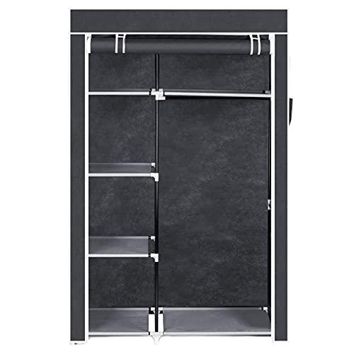 Guoda camera da letto ripostiglio-armadio 16 tubi non tessuto armadio 4 strati 6 griglia 104.5x45.5x158cm-grigio (colore : grigio, dimensioni: 105x44x163cm)