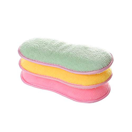 3 PCS Microfibre Antibactérien de Cuisine de Tampons à Récurer Double Face éponges Grattante non Odor Brosse à Plat Antiadhésif, Idéal pour Poêles Pots, Couleur Aléatoire