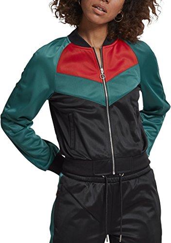 Urban Classics Ladies Short Raglan Track Jacket Veste de sport, Multicolore (noir/vert/rouge feu 01225), S Femme