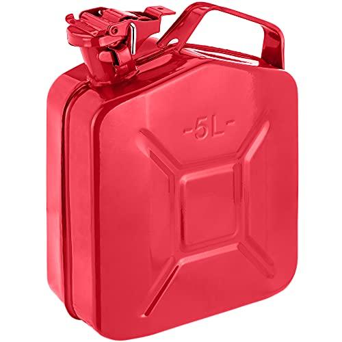 PrimeMatik - Bidón metálico para Gasolina o diésel 5 L Rojo
