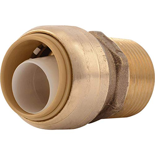 SharkBite U134LFA Straight Connector Plumbing, Male 3/4 in, MNPT, PEX Fittings, Push-to-Connect, Copper, CPVC, 0.75 x 0.75 Inch