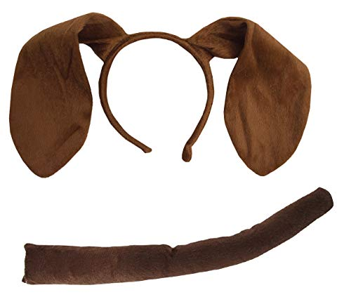 Nicky Bigs Novelties Puppy Dog Ears Headband and Tail Costume Accessory Kit, Brown, One Size
