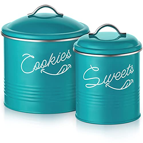 Candy Jar & Cookie Jar for Kitchen counter | Farmhouse Kitchen Jars for Storage of Your Favorite Treats | Large & Medium Canisters Set of Two Cookie & Candy Jars with Lids | Airtight Jar by Nirgals
