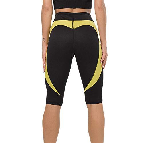 Litthing Pantalones para Adelgazar Neopreno Mujer Deportivos Pantalones Sauna Pantalón de Sudoración Adelgazar Pantalón Quema Grasa Mallas Termicos de Neopreno (Negro y Amarillo Amor, XL)