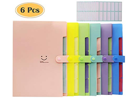 Expanding File Folders Organizer,6 Pieces with 5 Pockets Plastic Letter A4 Size Accordion File Organizer for School and Office,with 168 Pcs File Folder Labels
