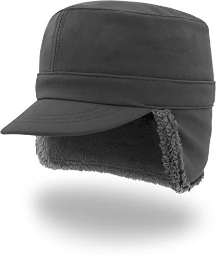 normani Winddichte Winter-Cap mit Fleecefutter, Ohren & Nackenschutz Farbe Anthrazit Größe S/55