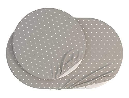 ComfortBaby Spannbettlaken für SmartGrow 7in1 – Grau mit weissen Sternen (MADE IN EU – OEKO TEX 100 STANDARD)