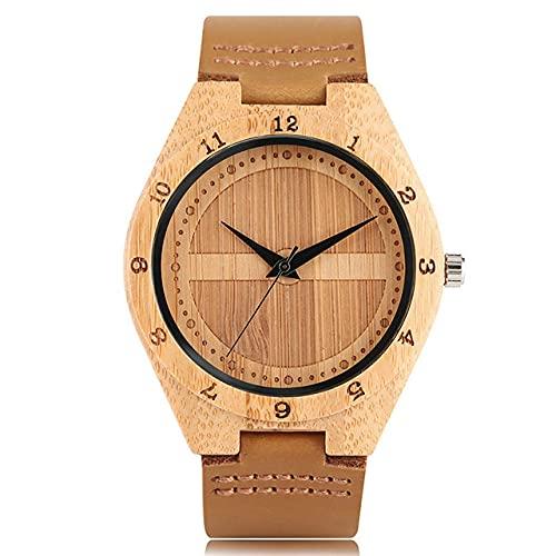 GIPOTIL Reloj de Madera de bambú Reloj deCuarzo Informal de Cuero Reloj Deportivo para Hombres Regalos para Hombres Reloj de Madera, Solo Reloj marrón