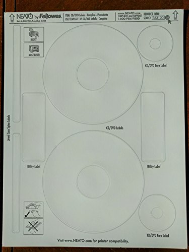 NEATO CD Labels - DVD Labels - for Inkjet and Laser Printers - PhototMatte - Printable Photo Quality Finish - 50 Blank Sheets - Makes 100 CD or DVD Sticker Labels - CD/DVD Labeling Software Included