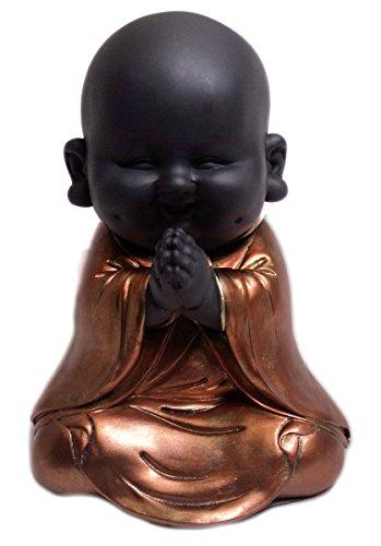 Happy-Buddha-Figur, meditierend, Rotgold bemalt, Kunstharz, rose gold