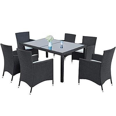 7-Piece Outdoor Wicker Dining Set - Dining Tabl...