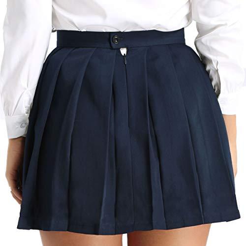 YOOJIA Mujer Falda Plisada a Cuadros Cintura Alta Uniforme Escolar Japonés Falda Escocesa Tartán Mini Falda Corta de Tenis Azul Marino Small