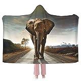 Elephant Hooded Blanket Anti-Pilling Flannel Wearable Blanket Hoodie-Plush Warm Blanket Throw Blankets Fit for Kids, Adults, Teens