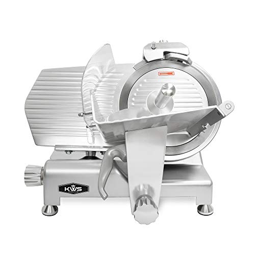 KWS MS-12ES Metal Collection Commercial 420W Electric Meat Slicer 12-Inch with 304 Stainless Steel Blade & Extended Back Space, Frozen Meat/ Cheese/ Food Slicer Low Noises [ ETL, NSF Certified ]