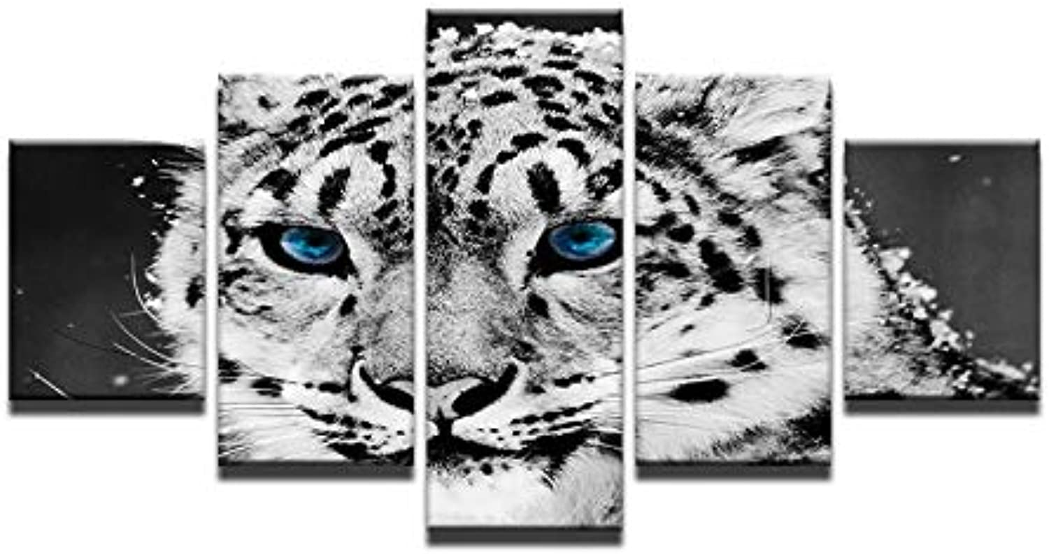 Wall Art Painting Pictures bluee Eye Snow Leopard 5 Piece Modular Prints On Canvas Animal Pictures Oil for Print Decoration