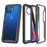 ZHXMALL Funda para Motorola Moto G 5G Plus Case,360 Grados Carcasa Cristal Ultra Fina PC Duro Panel Posterior Carcasa,Anti-Choque Anti-Arañazos Marco de TPU Suave Transparente Protectora Cover,Negro