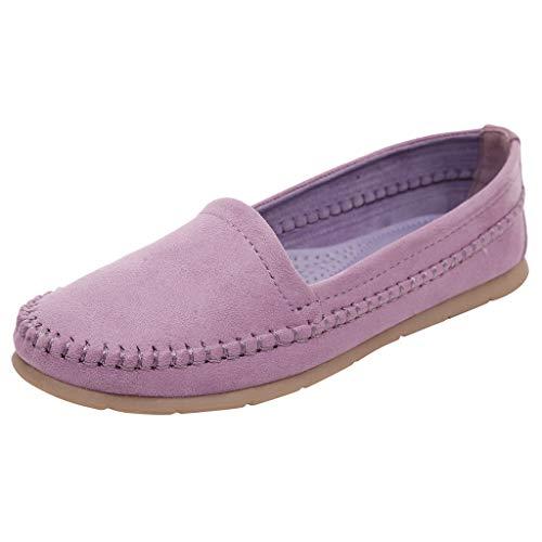 Dorical Damenschuhe Flache Schuhe College-Stil Groß Schuhe Mode Erbsen Schuhe,Für Frauen/Mädchen Oversize Moderne Erbsenschuhe Freizeitschuhe/Faule Schuhe/Schöne Damenschuhe(Lila,35 EU)