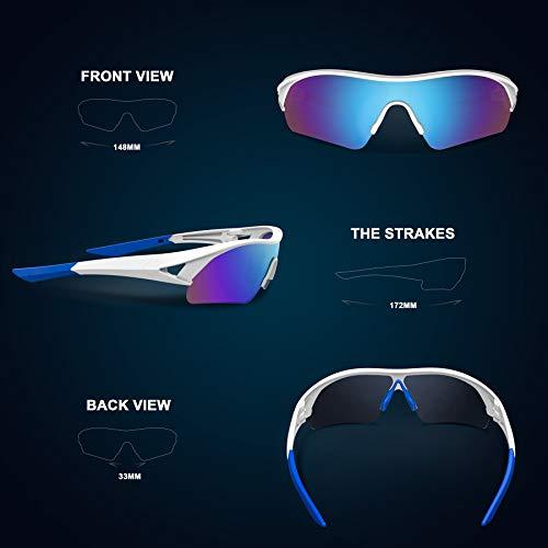 Polarized Sports Sunglasses for Men Women Youth Baseball Fishing Cycling Running Golf Motorcycle Tac Glasses UV400 … (White Blue)