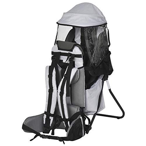 HOMCOM Zaino Porta Bimbo per Trekking, Pieghevole, Impermeabile e con Tettuccio Rimovibile 38x77x87.5cm, Grigio