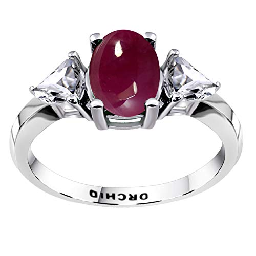 Orchid Jewelry 2.50 CTW Natural 8X6MM Oval Red Ruby 925 Sterling Silver 3 Stone Ring For Women – A July Birthstone Gemstone-A Unique Design Perfect As An Engagement Ring For Ladies