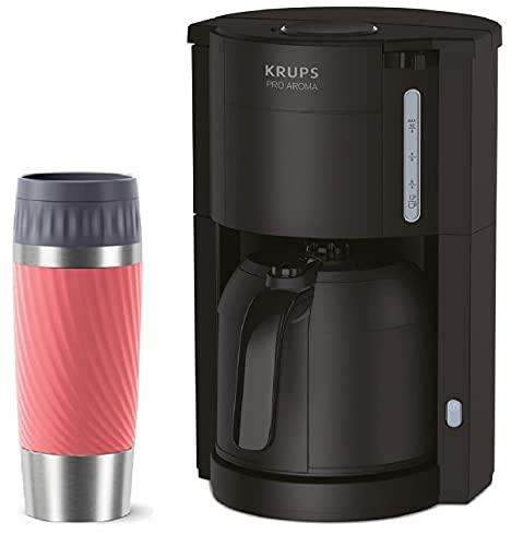 Krups KM3038-4 Filter Kaffeemaschine mit Thermo-Kanne + Emsa Travel Mug Thermobecher 360ml koralle, für 10-15 Tassen, Thermoskanne mit 1 Liter Fassungsvermögen, bleibt bis zu 4 Stunden Heiß, Schwarz