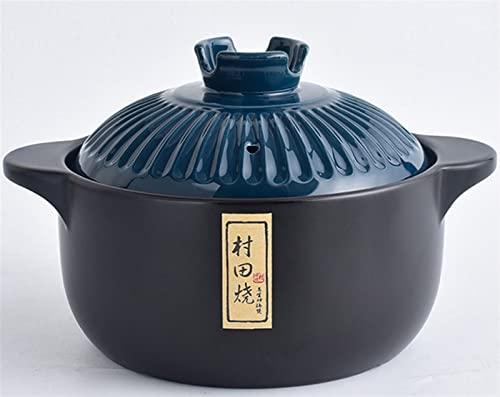 Juego de cazuela de cerámica, olla de sopa de cerámica de gran capacidad, Donabe japonés, cazuela de gres con tapa y mango resistente al calor, olla de barro de loza caliente (Size : 3.5L)