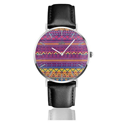 Herrenuhr Helle mexikanische Zick-Zack-Tribal-Lederband-Armbanduhr Silbernes Uhrengehäuse Kleid Einfache Quarzuhren
