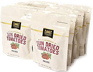 Traina Home Grown California Sun Dried Tomatoes Halves - Non GMO, Gluten Free, Kosher Certified, Packed in Resealable Pouch (Pack of 12)