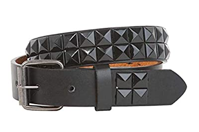 "BBBelts Boys 1"" Black Pyramid Studs Faux & Genuine Leather Snap On Buckle Belt,One-color M - 24"""