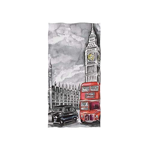 MYGZ-GW Toalla Suave Multiusos London City Big Ben Arte Abstracto, Toalla de Playa de baño de algodón para el hogar, Cocina, natación, SPA, Gimnasio, 27,5 x 15,7 Pulgadas