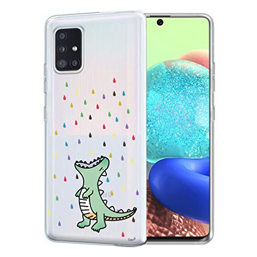 Unov Case Compatible with Galaxy A71 5G Clear with Design Soft TPU Shock Absorption Slim Embossed Pattern Protective Back Cover Galaxy A71 5G 6.7 inch (Rainbow Dinosaur)