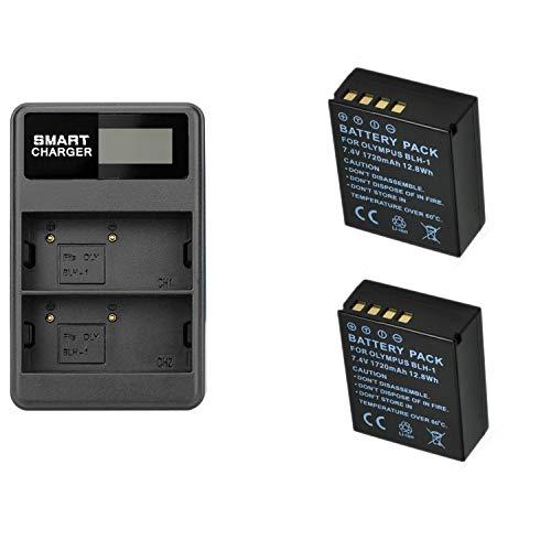 2 Piezas 1720mAh BLH-1 BLH1 Batería de la cámara con un Solo Cargador de batería para cámaras Digitales Olympus EM1 Mark II EM1-2 EM1 Mark 2 (2 pcs Battery with Charger)