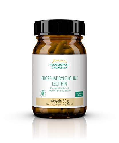 Heidelberger Chlorella – Phosphatidylcholin/Lecithin, Phospholipide mit Vitamin B1 und Biotin, vegan, aus 100 % Sonnenblume, hochdosiert, hergestellt in Deutschland, 60 g, 120 Kapseln
