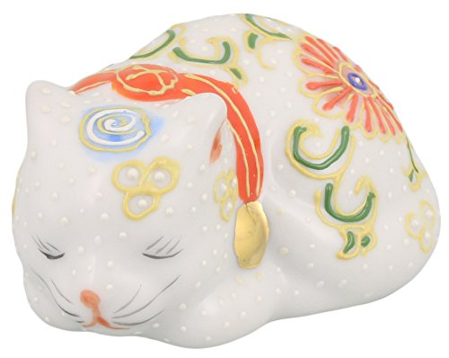 九谷焼 豆眠り猫 白盛 A-0109