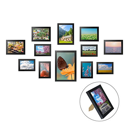 Yorbay 12er Set Bilderrahmen zum Aufstellen, Aufhängen, aus Vollholz, Fotorahmen und Bildabdeckung, Schwarz, 6 STK. 10x15cm, 4 STK. 13x18cm, 1Stk. 20x30cm, 1 STK.15x20cm, aus Plexiglas, Mehrweg
