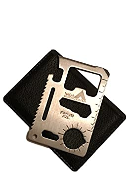 Ninja Outdoorsman 11 in 1 Stainless Steel Credit Card Pocket Sized Survival Multi Functional Tool - Stocking Stuffers Christmas Gifts Under 10 Dollars  Single Silver