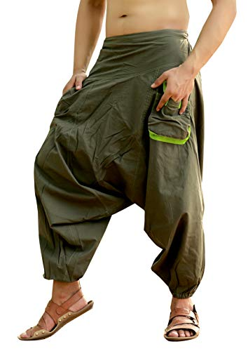Sarjana Handicrafts Mens Womens Cotton Pockets Harem Pants Drop Crotch Trouser (Khaki)